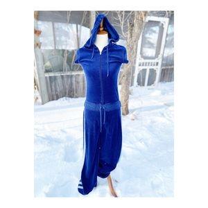 Y2K J.Lo Velvet Tracksuit Bodysuit Flare Hooded